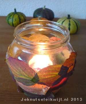 Sfeer Lichtje Knutselen Met Herfstbladeren