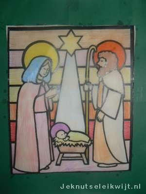 Kerstknutsel Glas In Lood Van Papier En Olie