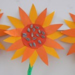 Zonnebloem knutselen van zonnebloem pitjes