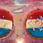 Rood wit blauw cupcake traktatie