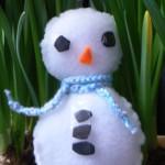 Knutselen winter sneeuwpop van vilt