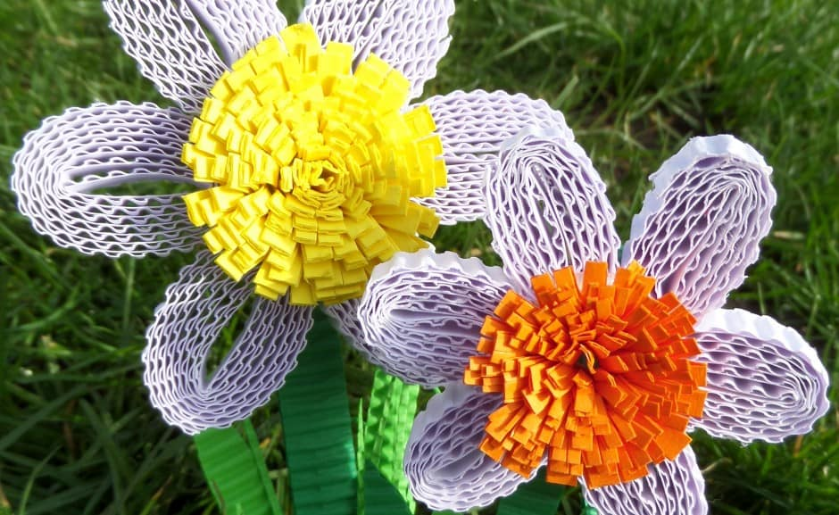 corrugated cardboard flowers